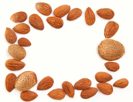 Frame formed from delicious fresh almond nuts