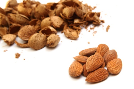Close up of almond kernels with  hulls on white background