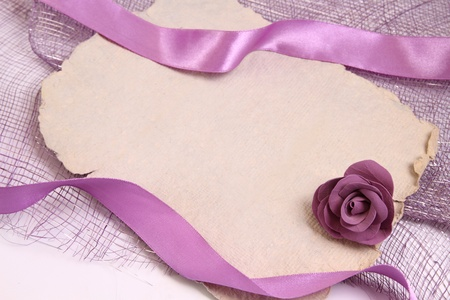 Pretty background with textured paper, ribbons and decorative rose for romantic messages Stock Photo - 12684625