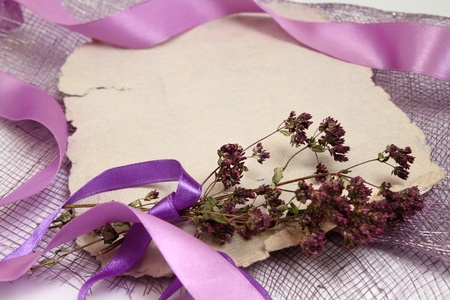 Romantic background with writing pad, ribbons and herbs