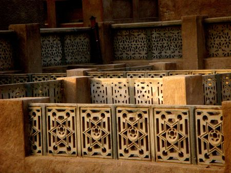 Islamic design wall used an old kind of islamic stone photo