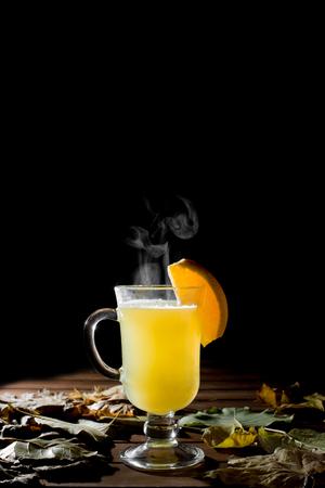 Delicious fresh lemon tea with honey, cinnamon mandarin and ginger Stock Photo