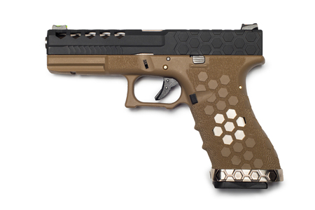semi automatic 9x19 handgun isolated on white background, custom