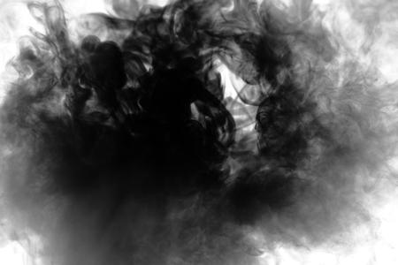 Black smoke on white background