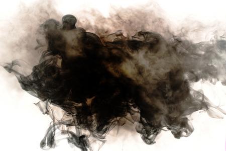 black cigarette, hookah smoke on white background