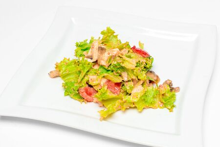 salad with meat lettuce tomato cream sauce in a white plate on a white plate