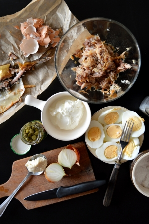quick snack: Past mackerel with eggs, capers and horseradish Stock Photo