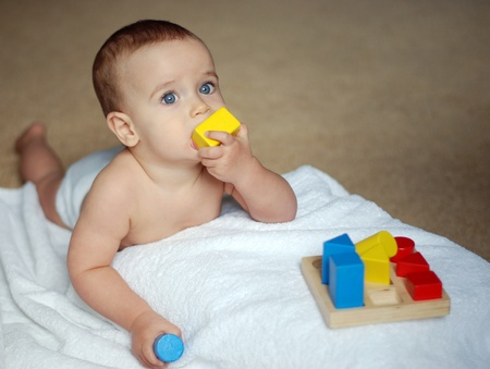 baby playing colour  bricks Stock Photo - 9100935