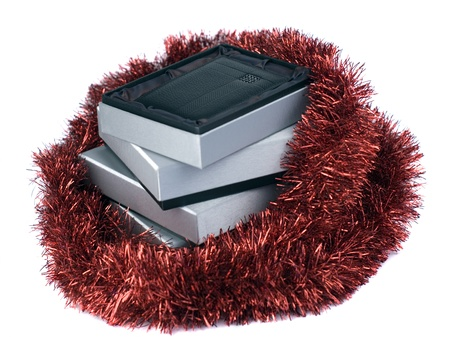 pile of gift boxes with open top box photo