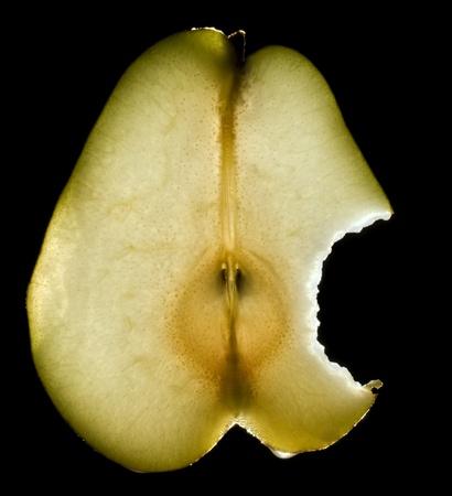 bit off piece of luminous pear