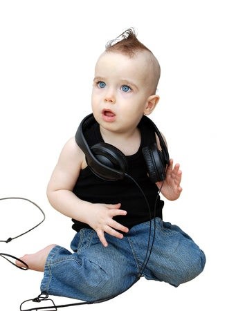Portrait of serious baby in the earphones Stock Photo - 9100937
