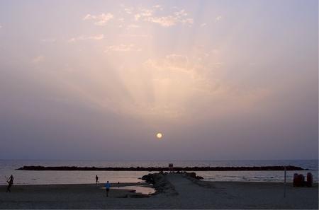 Evening beach in Tel-Aviv, Israel Banque d'images