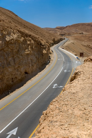 A long winding road in desert  photo