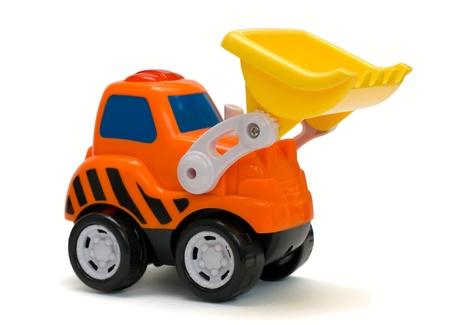 Excavatrice jouet orange dr? isol?