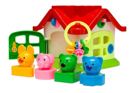 Color animal toys standing in row