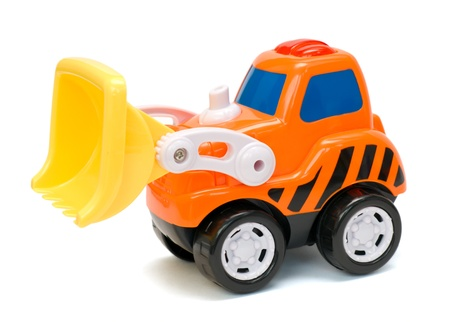 Funny orange toy excavator, isolated