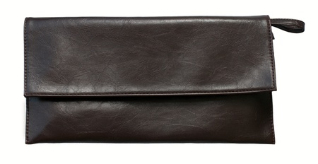 Little elegant brown clutch bag,  isolated