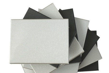 Pile of silver and black gift boxes photo