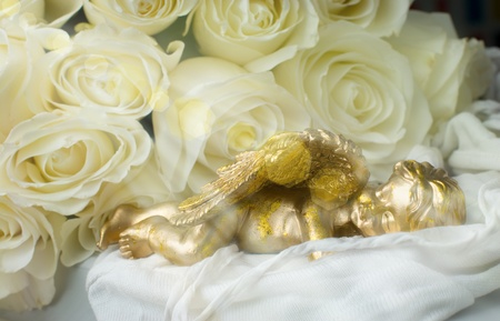 angel roses: Sleeping angel on a background of white roses Stock Photo