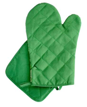 Green heat protective mitten isolated on white