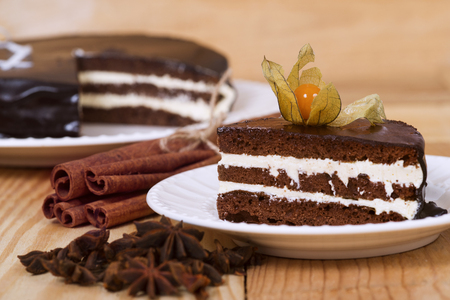 winter cherry: Chocolate cake with winter cherry on a plate