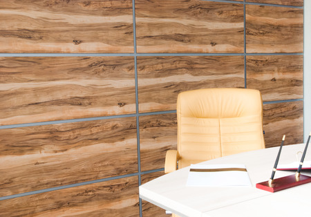 modern office interior design with wall of synthetic wood panels