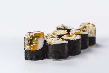 Japanese seafood sushi, roll on a light background Stock Photo