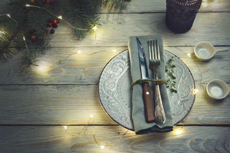 Christmas table setting on wooden background Standard-Bild