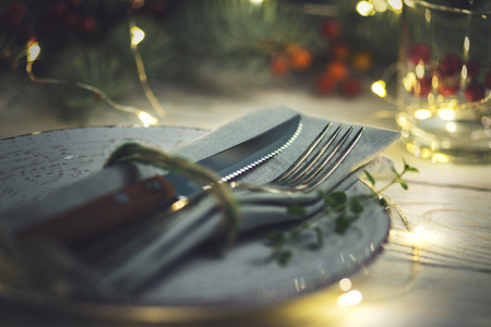 Christmas table setting on wooden background Stock Photo