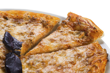Tasty pizza with meat, isolated
