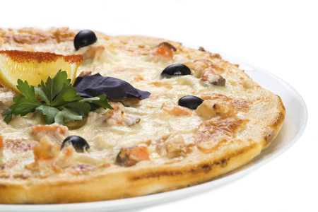 Tasty pizza with salmon, isolated
