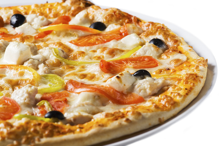 Tasty pizza with vegetables and cheese, isolated
