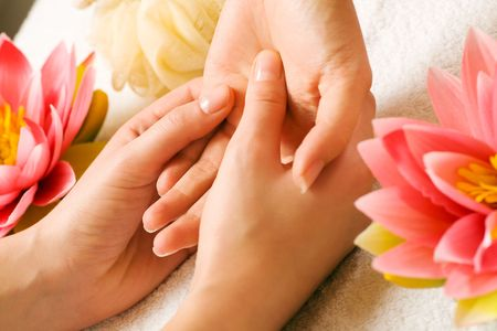 Woman getting a hand massage (close up on hands) Stock Photo - 3468706