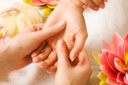 Woman getting a hand massage (close up on hands) Stock Photo - 3468708