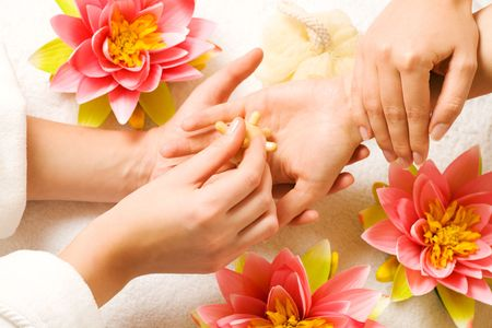 Woman getting a hand massage (close up on hands) Stock Photo - 3468709