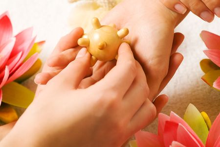 Woman getting a hand massage (close up on hands) Stock Photo - 3468705