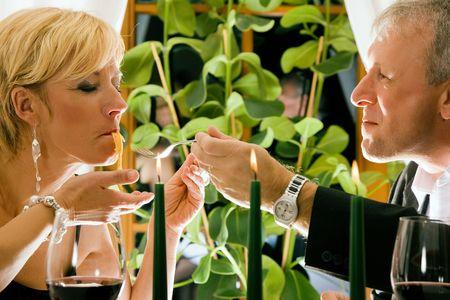 Couple having dinner in restaurant Stock Photo - 6092642