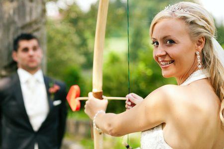 Happy wedding couple, she is