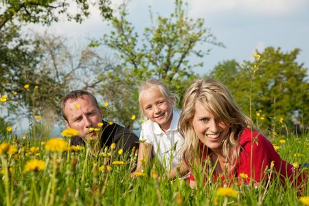 Happy family sitting in a meadow full of dandelions in spring (selective focus on girl) Stock Photo - 6094237