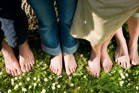 podiatry: Healthy feet series: feet of men and women of different ages in the grass with daisies, seen from above