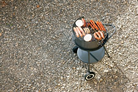 Barbecue grill with meat and sausages Stock Photo - 6173880