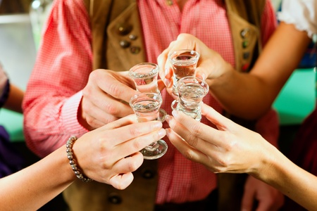 People in Bavarian Tracht clinking glasses with hard liquor in a pub Stock Photo - 8295253