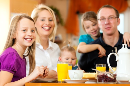 Family having breakfast photo