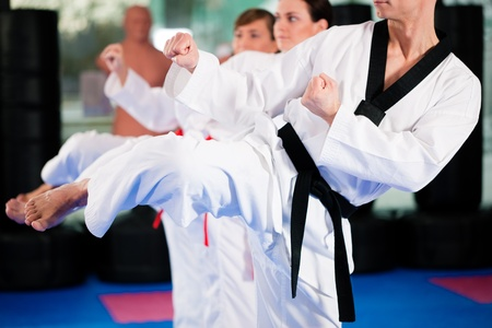 toughness: People in a gym in martial arts training exercising Taekwondo, the trainer has a black belt Stock Photo