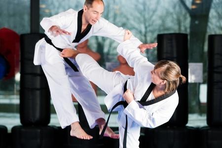 martial arts: Personas en un gimnasio de artes marciales de formaci�n ejercicio de Taekwondo, ambos tienen un cintur�n negro. Foto de archivo