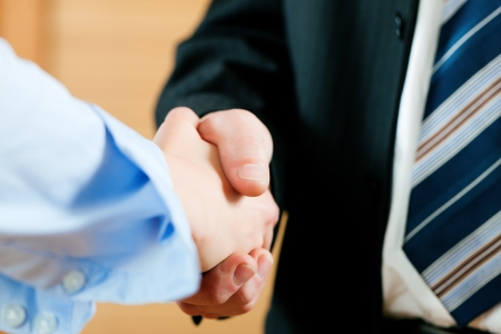 business hand: Two businessperson shaking hands; only hands to be seen