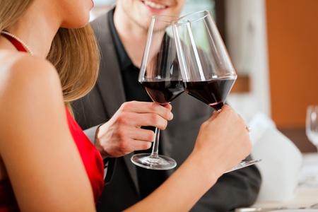 tasting wine: Couple at wine tasting in a restaurant