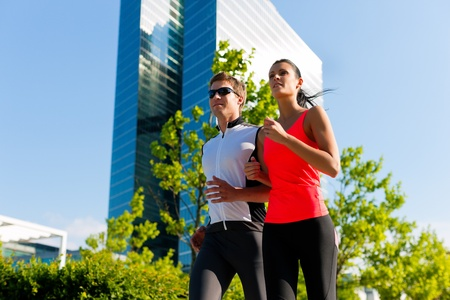 Urban sports - fitness in the city on a beautiful summer day   photo