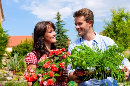 Gardening in summer - happy couple with fresh herbs and red flowers Stock Photo - 10020508