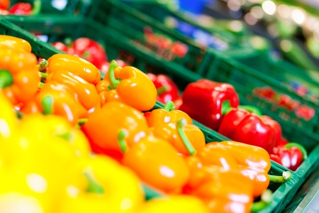 Vegetables – bell peppers – in a counter of a supermarket   photo